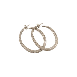 Earrings Encrusted Crystal Hoops