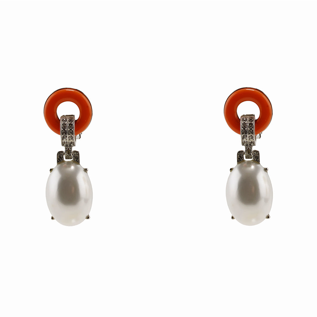 Art-Deco Pearl and Coral Earrings