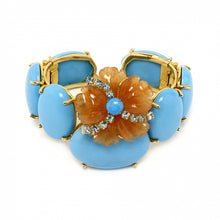 Load image into Gallery viewer, Aventurine Flower on Turquoise Cuff