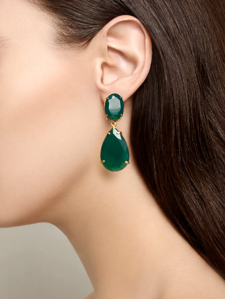 Semi-precious Earrings Green Agate