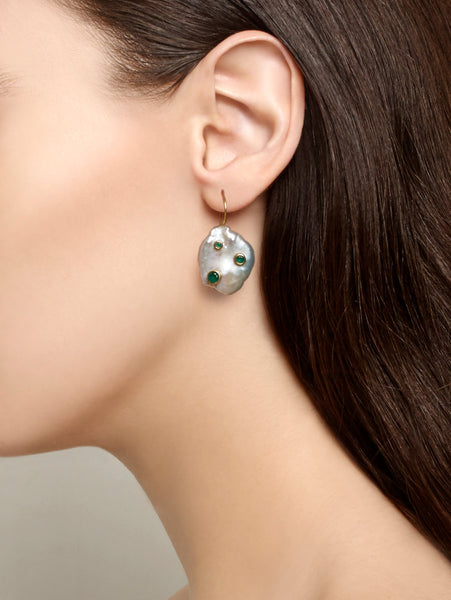 Earrings Green and Pearl Baroque