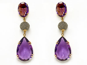 Semi-Precious  Earrings Diamond Balls