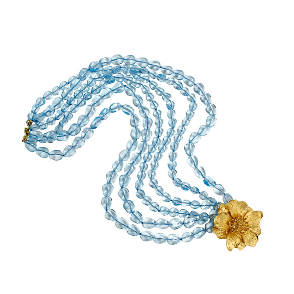 Golden Flower Clasp and Blue
