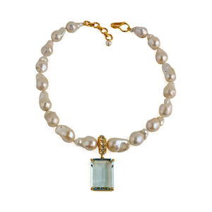 Semi-Precious Blue Topaz and Pearls