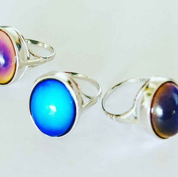 Sterling Silver Mood Ring Beautiful Colors
