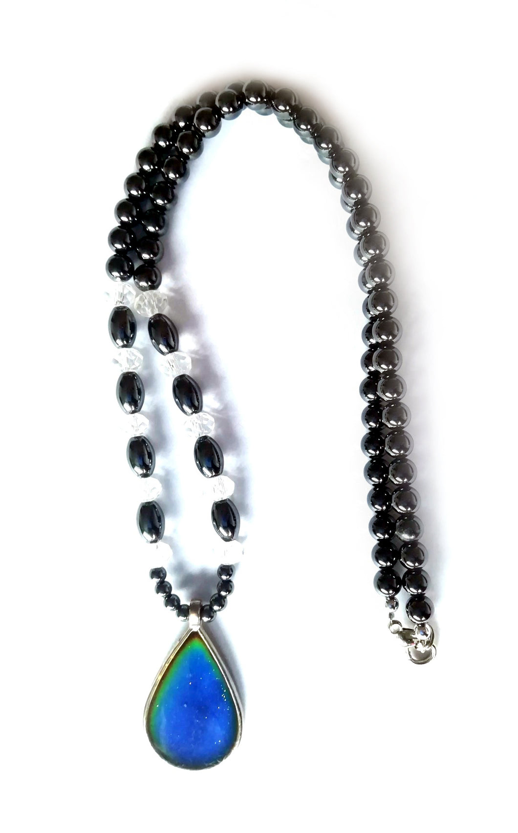 teardrop magnetic hematite mood necklace with beads by best mood rings