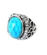Load image into Gallery viewer, mood ring with a blue mood and stones around the side