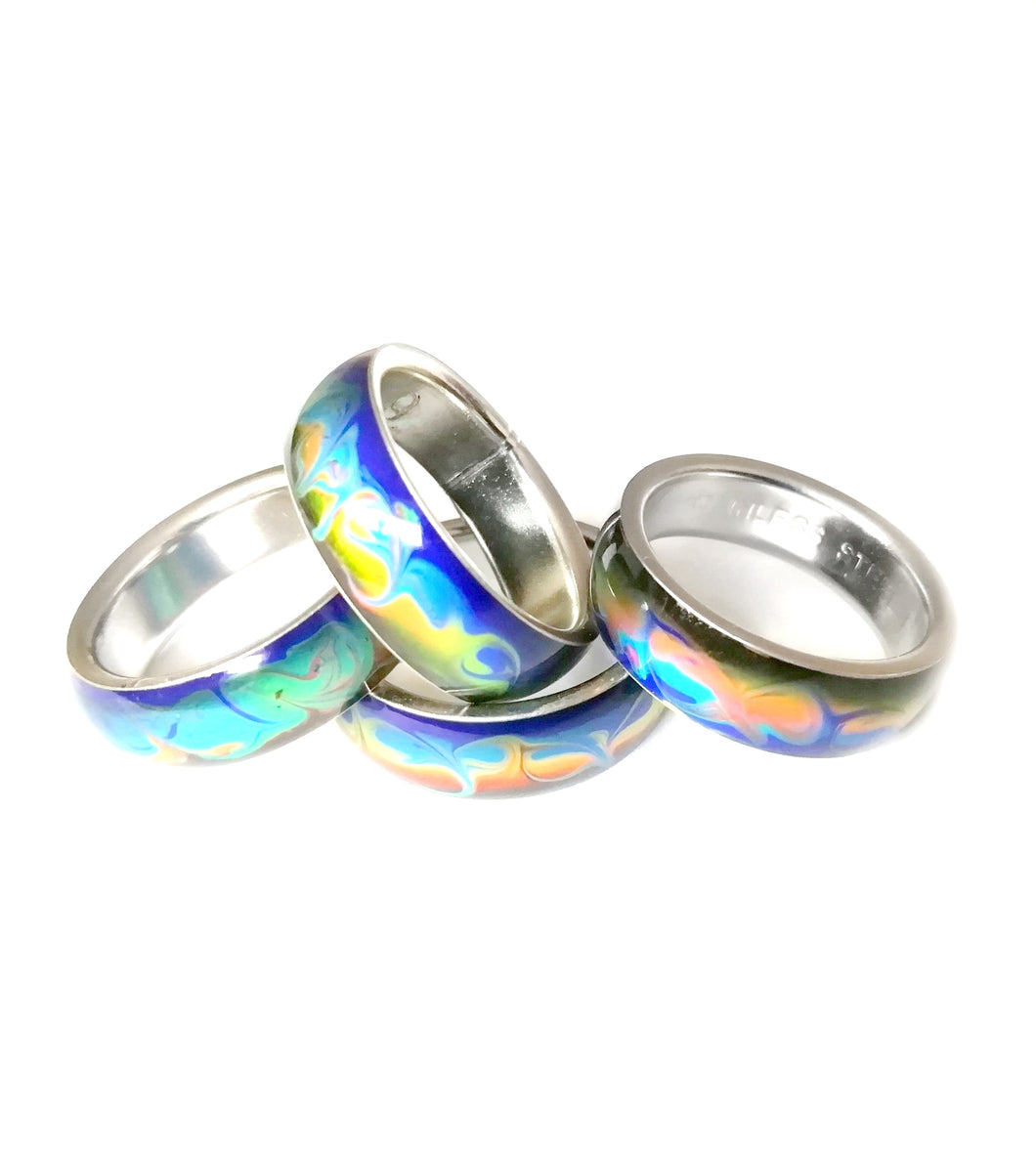 mood rings with swirl marble patterns in stainless steel