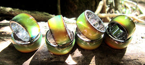 stainless steel band mood rings turning a green yellow color outside