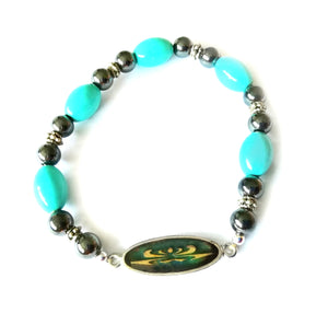 magnetic hematite mood bracelet with blue beads designed by best mood rings