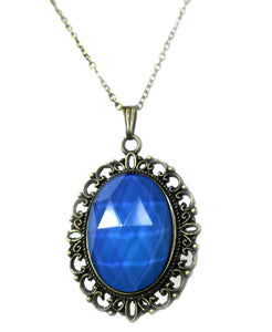 vintage style mood ring necklace with blue mood color