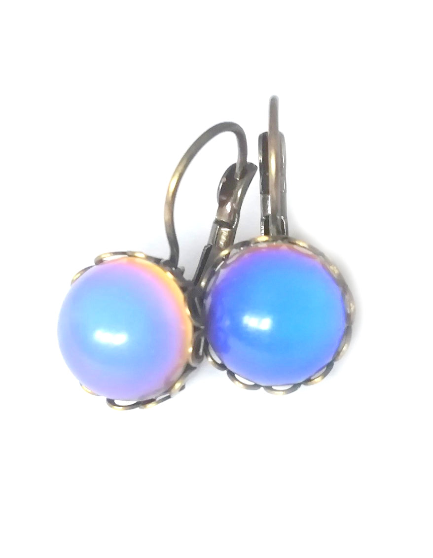 mood earrings with circular mood shape and bronzed shade by best mood rings