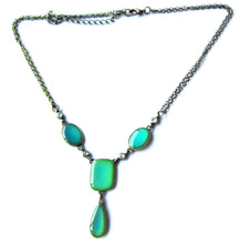 Load image into Gallery viewer, bronze mood necklace with green moods