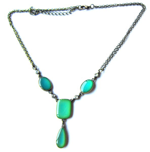 bronze mood necklace with green moods
