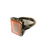 Load image into Gallery viewer, a bronze mood ring with a square mood and adjustable band