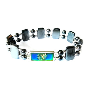 a magnetic mood bracelet with a blue butterfly mood color design
