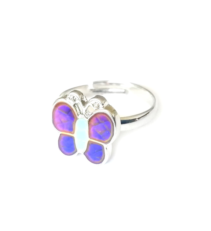 a child butterfly mood ring with purple color mood wings