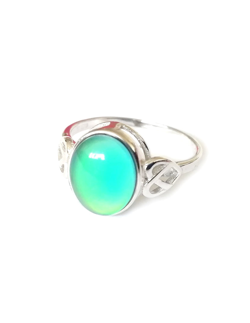 sterling silver celtic mood ring showing a green mood color