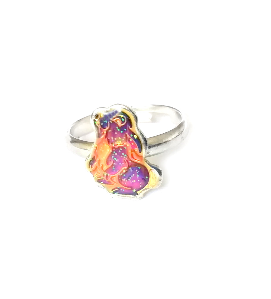 a child sized rabbit bunny mood ring with an adjustable band
