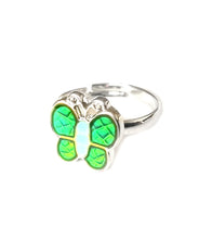 Load image into Gallery viewer, a child butterfly mood ring with green color meanings