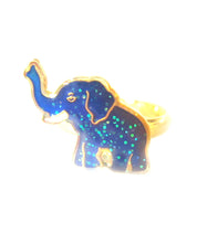 Load image into Gallery viewer, a child elephant mood ring with golden color