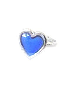 a child size heart mood ring with adjustable band