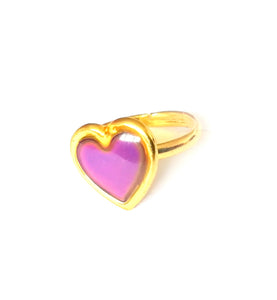 gold heart mood ring with pink mood meaning by best mood rings