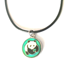 Load image into Gallery viewer, a circular mood pendant necklace with a panda design