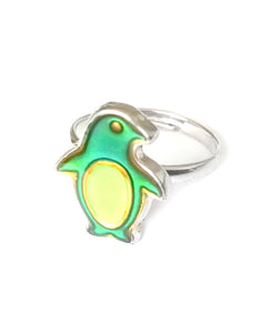 a penguin mood ring for children that also glows in the dark