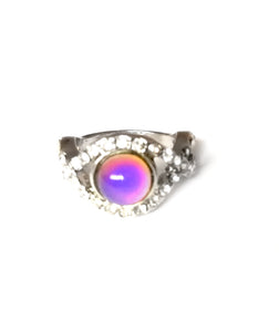 a circular mood ring with a pink mood color