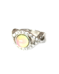 a mood ring with a yellow pink mood color and stones