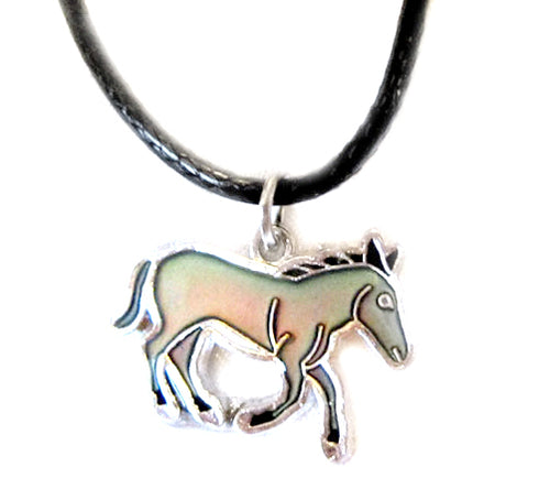 donkey mood pendant on a black cord