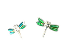 Load image into Gallery viewer, dragonfly mood earrings showing a green color mood meaning