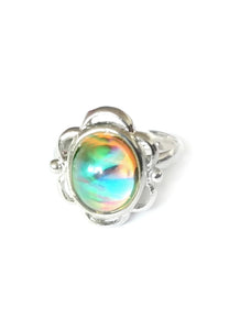 flower mood ring with swirl pattern and adjustable band