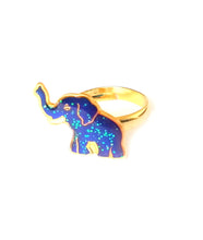 Load image into Gallery viewer, a golden elephant mood ring with a blue color meaning