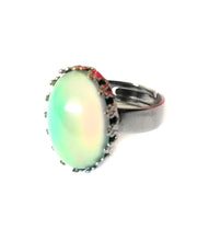 Load image into Gallery viewer, a gunmetal mood ring with oval mood bead and adjustable band for adults