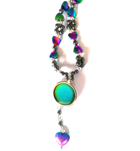 magnetic mood necklace with hearts by best mood rings