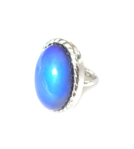 a mood ring with very large mood stones turning blue
