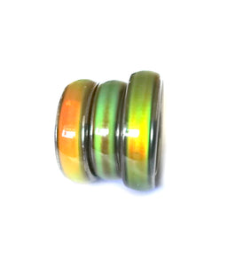 magnetic mood rings in green and orange colors