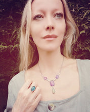 Load image into Gallery viewer, model wearing a mood ring and a mood necklace in the garden