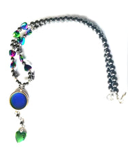 Load image into Gallery viewer, a magnetic mood necklace made from hematite with hearts by best mood rings