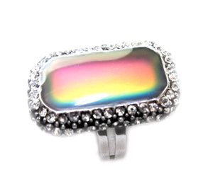 rectangular mood ring showing an array of colors