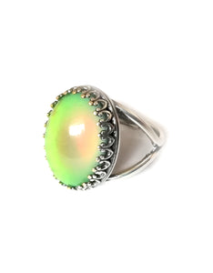 oval mood ring changing color from green to orange mood meaning