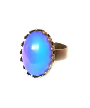 Load image into Gallery viewer, bronzed mood ring with blue color mood meaning