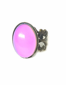 oval mood ring with pink color meaning in bronze by best mood rings