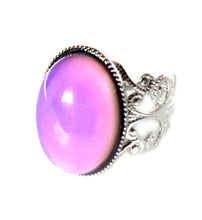 Load image into Gallery viewer, oval brass mood ring with pink mood color