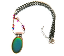 Load image into Gallery viewer, magnetic hematite healing mood necklace by best mood rings