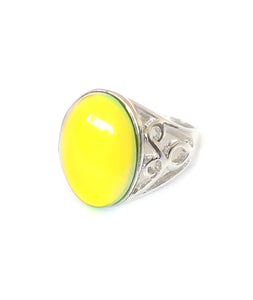a mood ring turning yellow