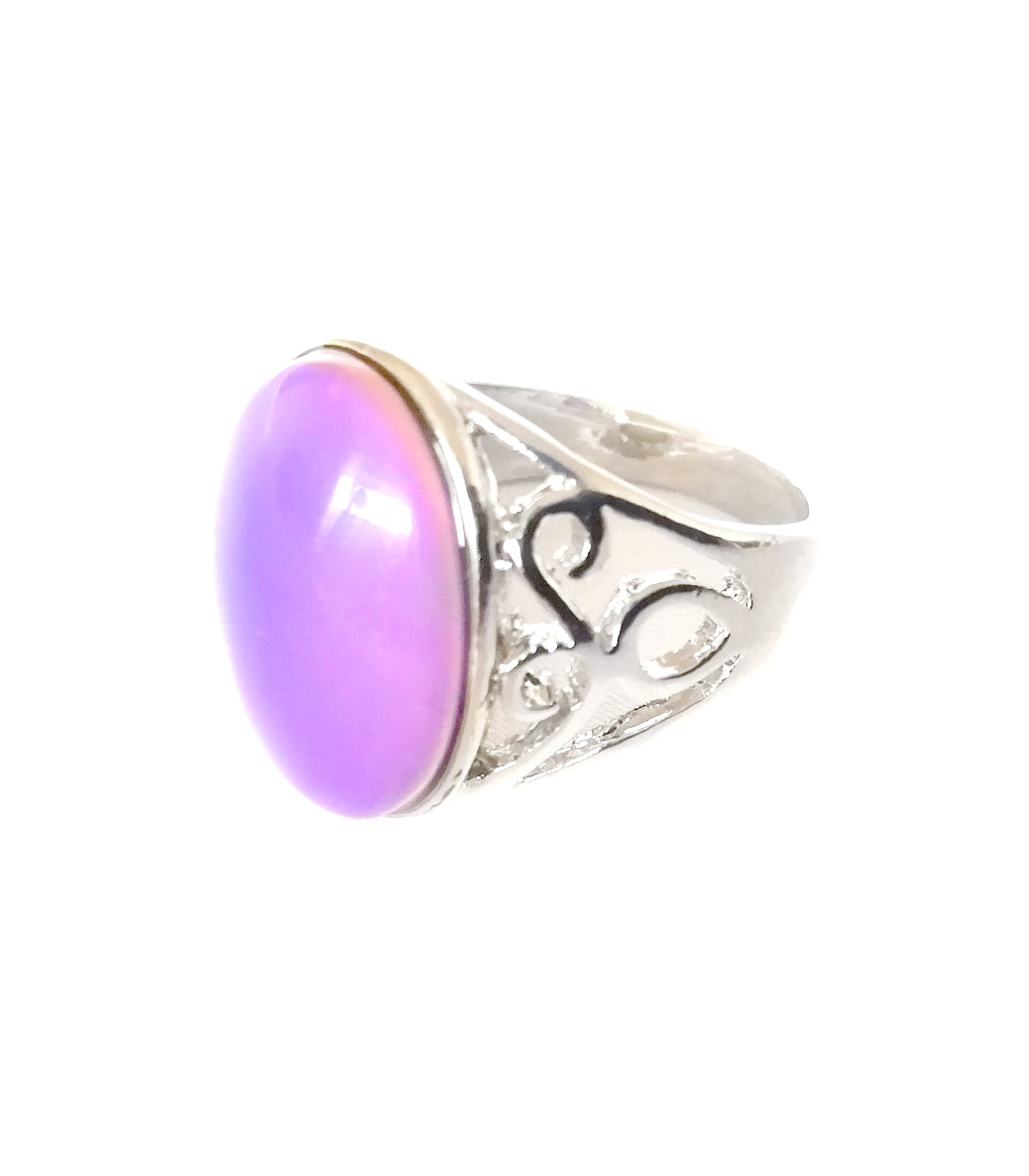 mood ring with a pink mood and a silver shade band