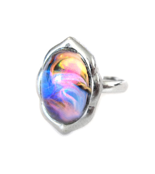 colorful mood ring with swirly marble patterns